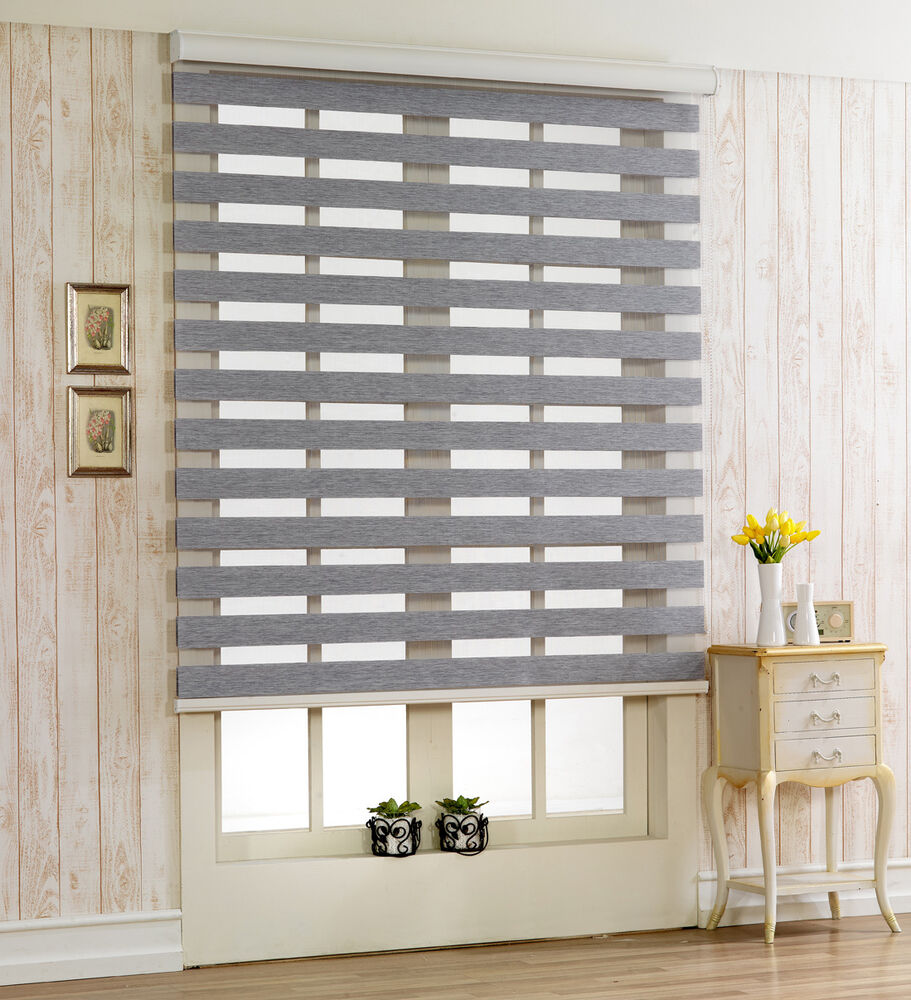 custom to cut size woodlook roller window blind treatment shade horizontal zebra ebay. Black Bedroom Furniture Sets. Home Design Ideas