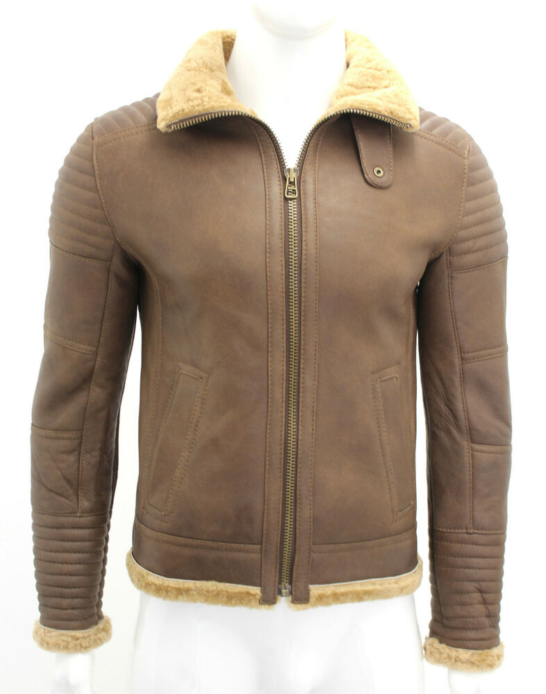 Brown leather shearling jacket