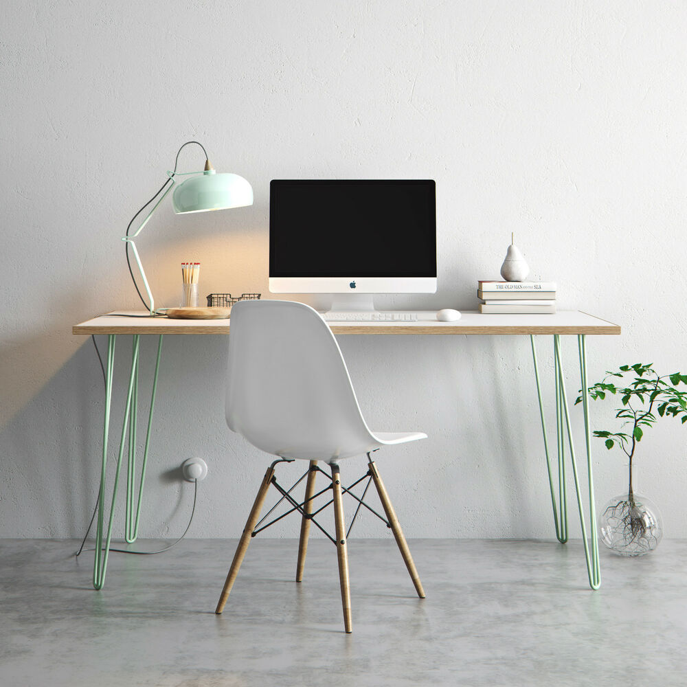 Hairpin desk dining table formica birch plywood top for Plywood table hairpin legs