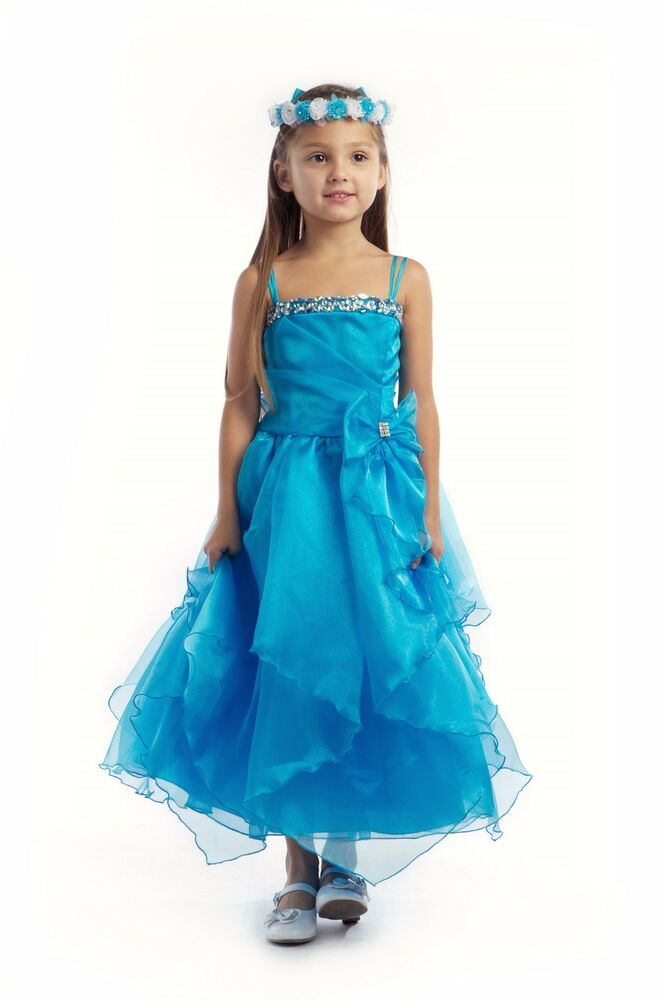 Long Asymmetric Hem Flower Girl Junior Bridesmaid Beauty