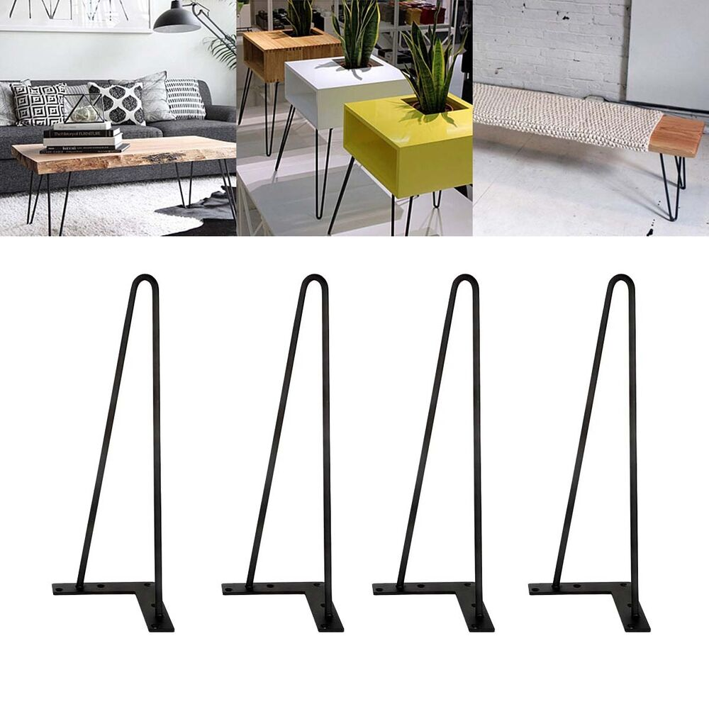 Black 16 Quot Hairpin Legs Set Of 4 3 8 Quot Dia Solid Iron