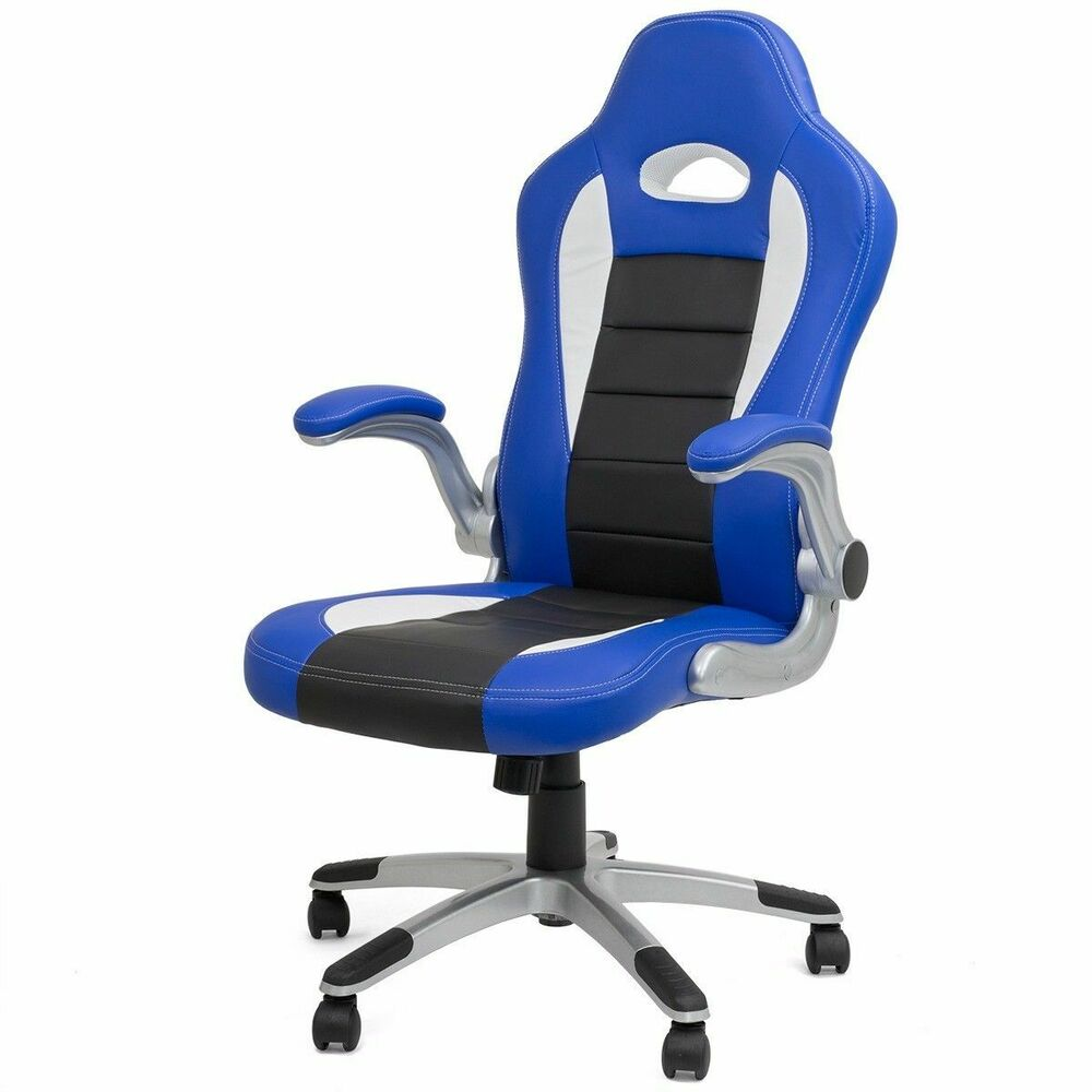office chair ergonomic computer pu leather desk swivel seat race car game blue ebay. Black Bedroom Furniture Sets. Home Design Ideas