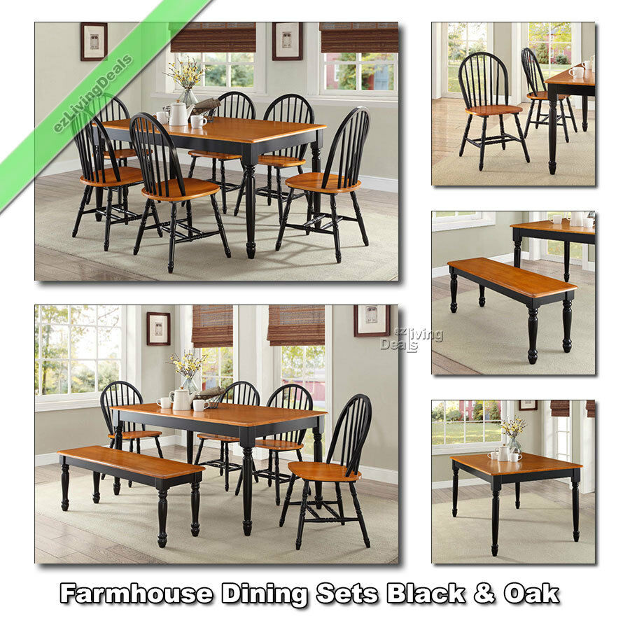 dining tables sets farmhouse chairs benches wood country room set black oak ebay. Black Bedroom Furniture Sets. Home Design Ideas