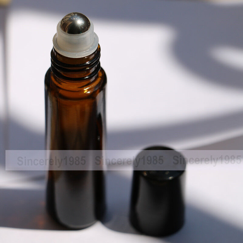 1pcs 50pcs Amber Thick Glass Roll On Bottles Roller Ball