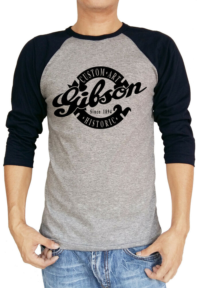 Gibson custom art historic guitar baseball tee raglan 3 4 for Custom raglan baseball shirt