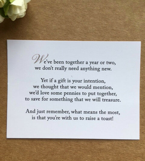 No Wedding Gift List Poem : Wedding Poem Card Inserts Wedding Invitations Money Cash Gift ...