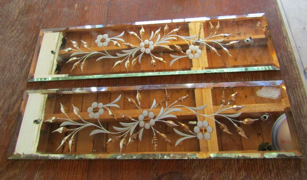 Antique Beveled Mirrored Glass Etched And Cut Door Push