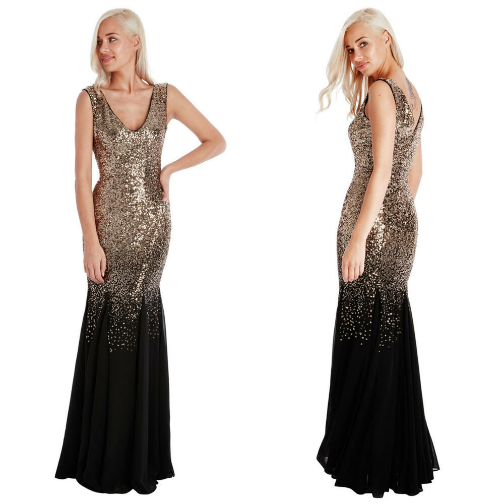 Ladies Gowns: Ladies Long Sequin Chiffon Evening Maxi Party Dress Ball