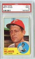 1963 TOPPS BILLY KLAUS #551 PSA 9 MINT NQ 1 OF 29 JUST 1 HIGHER WEIGHT 2X
