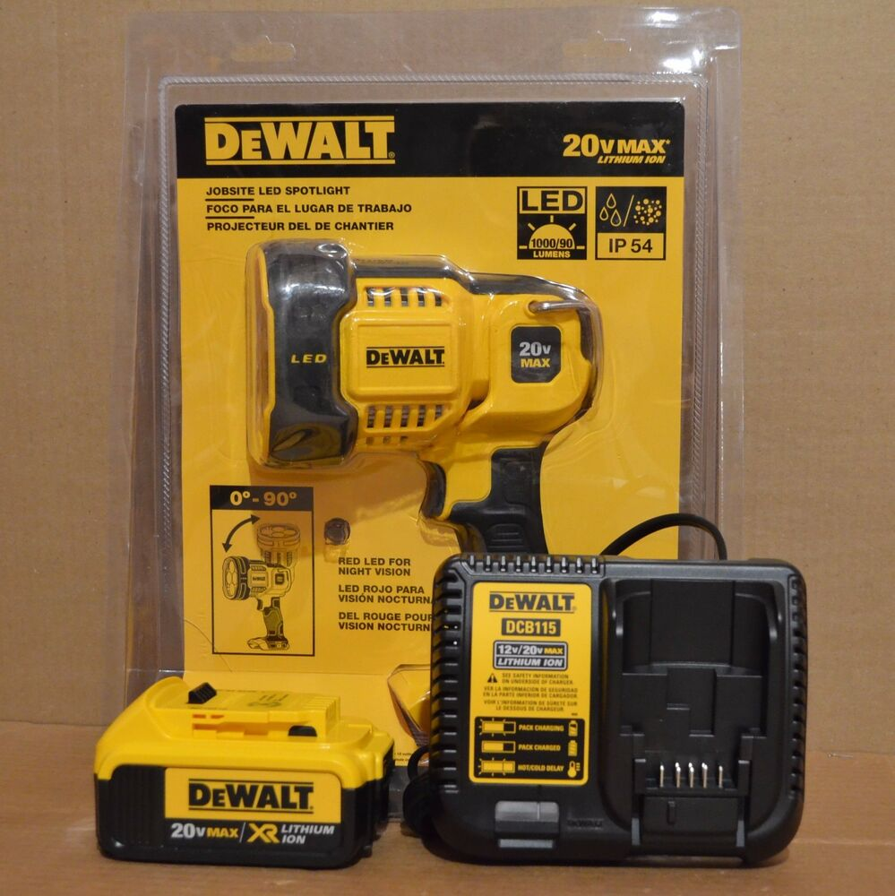 Dewalt Dcl043 20v Jobsite Led Spotlight Dcb204 4ah