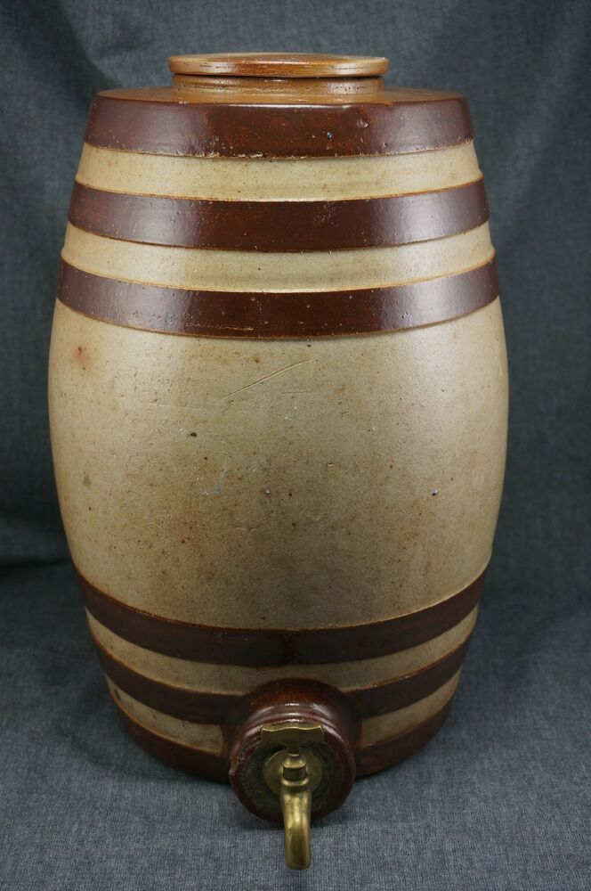 Brown Banded Salt Glazed Stoneware Water Cooler 2 Gallon