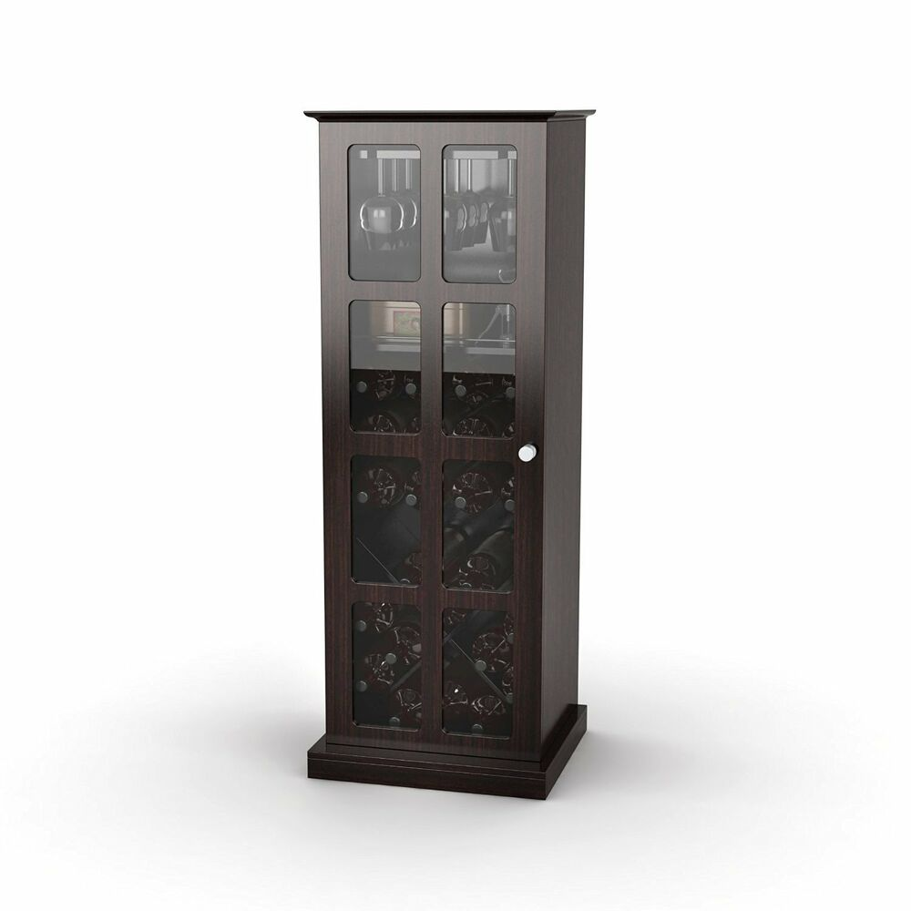 Wine Cabinet 24 Bottle Storage Rack Wood Glass Furniture Home Liquor Decor Bar Ebay