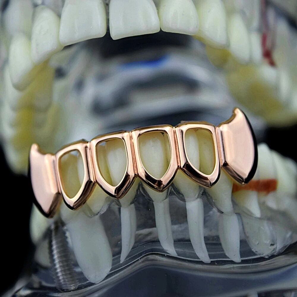 Fang Grillz Four Open Face Teeth 14k Rose Gold Plated ...