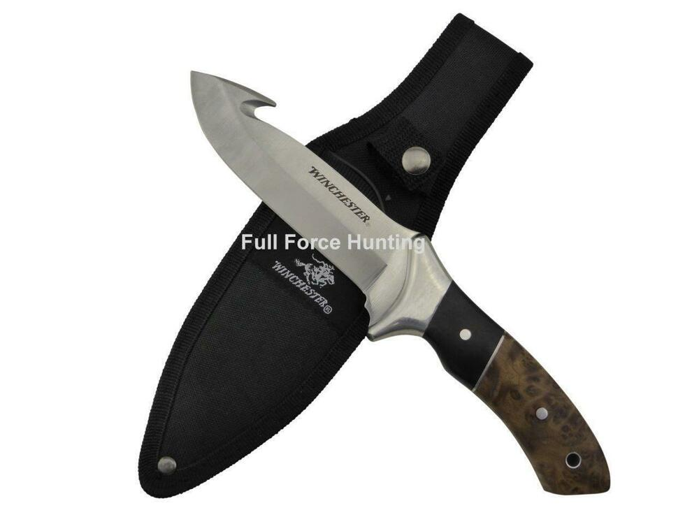 Bowie Winchester Burl Wood Fixed Gut Hook Knife Full Tang