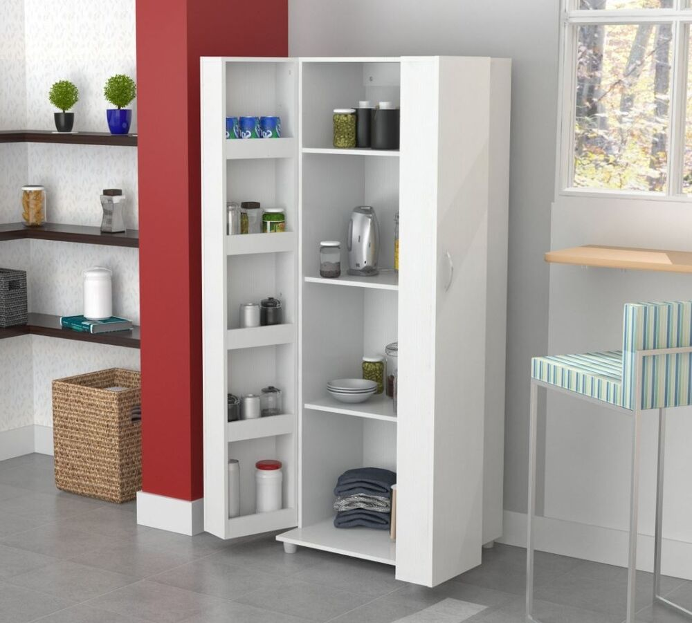 Tall kitchen cabinet storage white food pantry shelf for Kitchen cabinets storage