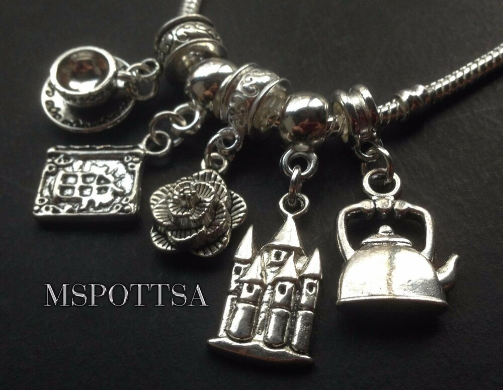 Disney belle dress silver dangle with - Beauty And The Beast European Bracelet Charms Sliders Books Teapot