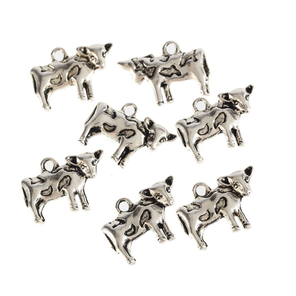 10pcs Spider Insect Beads Charms Tibetan Silver Pendant DIY Bracelet 13*18mm