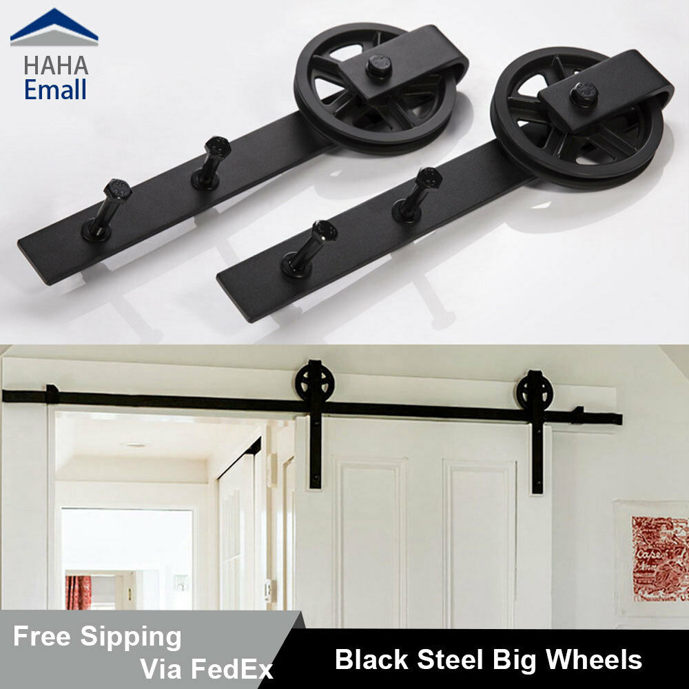 Sliding Barn Door Hardware Track Kit Big Black Wheel Kit