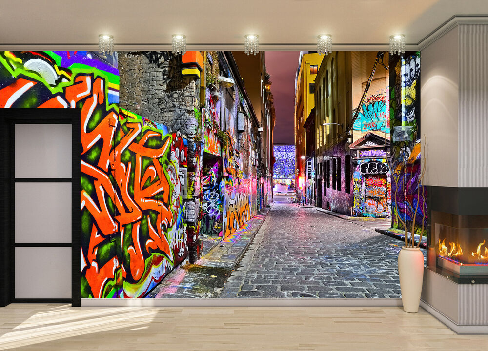 night view graffiti artwork wall mural photo wallpaper giant decor paper poster ebay. Black Bedroom Furniture Sets. Home Design Ideas