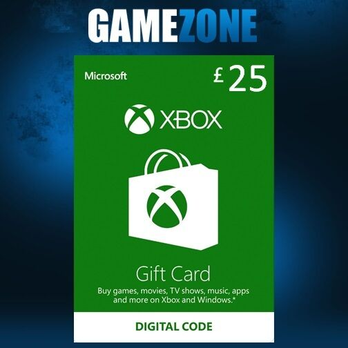Microsoft Xbox Live £25 GBP UK Gift Card Points Pounds For