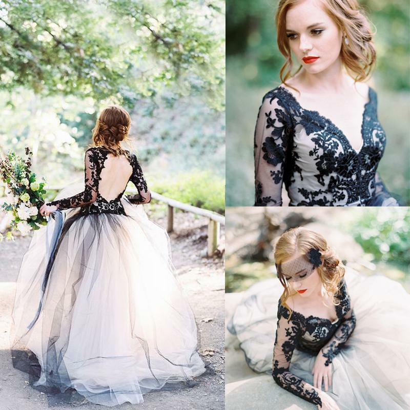 Popular Plus Size Gothic Wedding Gowns Buy Cheap Plus Size: Vintage White Black Lace Wedding Dress Gothic Long Sleeves