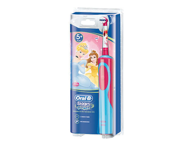 The Oral-B Kids 3+ rechargeable electric toothbrush for boys and girls, with Frozen or Star Wars characters. It features a small round head to cup young teeth, extra-soft bristles that are gentle on gums, and gives a superior clean vs. a manual toothbrush.