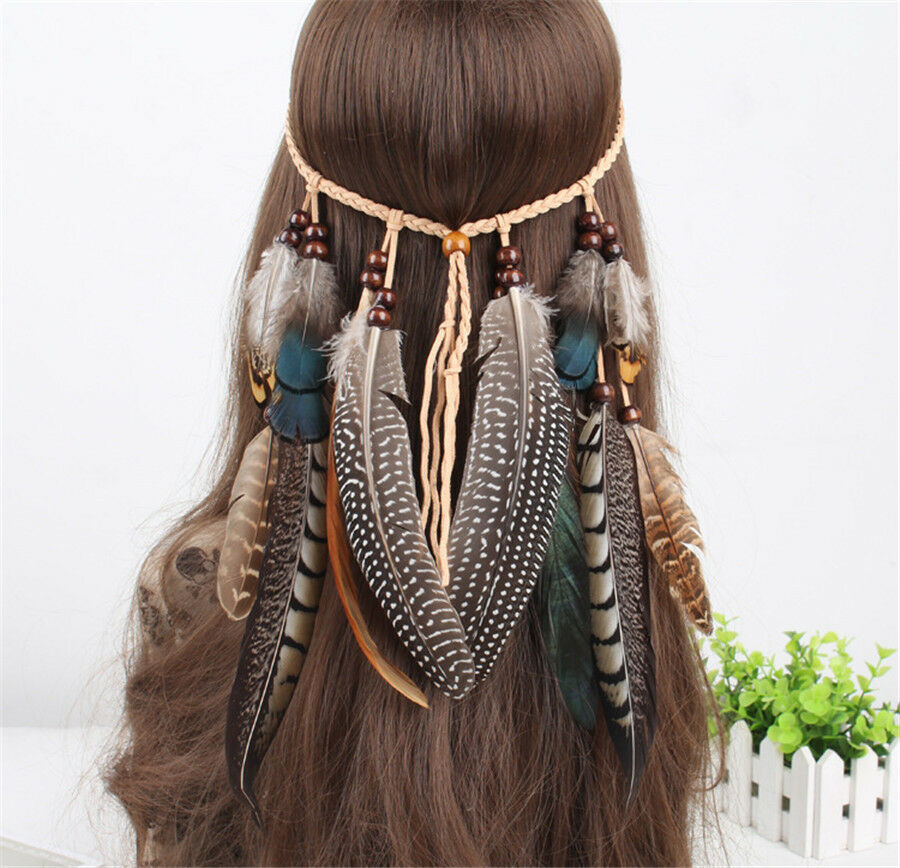 hippie indian feather headband boho weave feathers hair rope headdress ebay. Black Bedroom Furniture Sets. Home Design Ideas