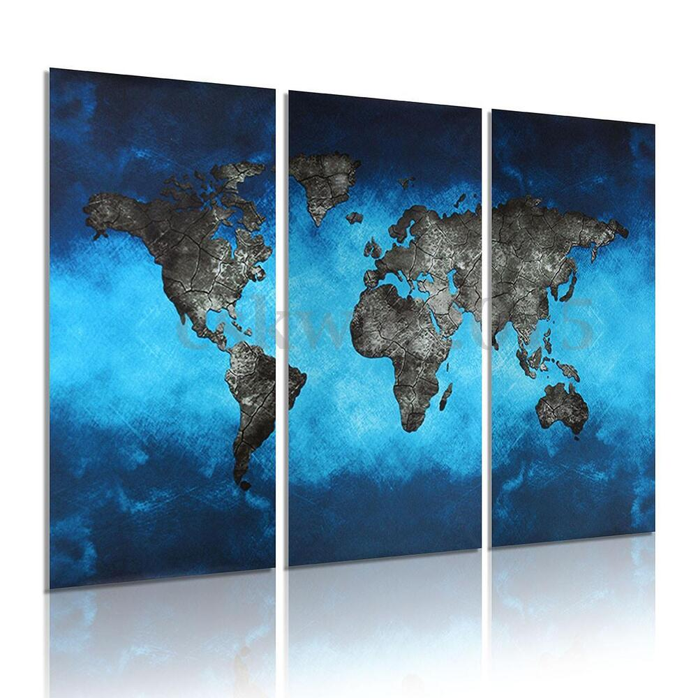 Aliexpress Com Buy Unframed 3 Panel Vintage World Map: 3Pcs Blue World Map Picture Canvas Painting Modern Art