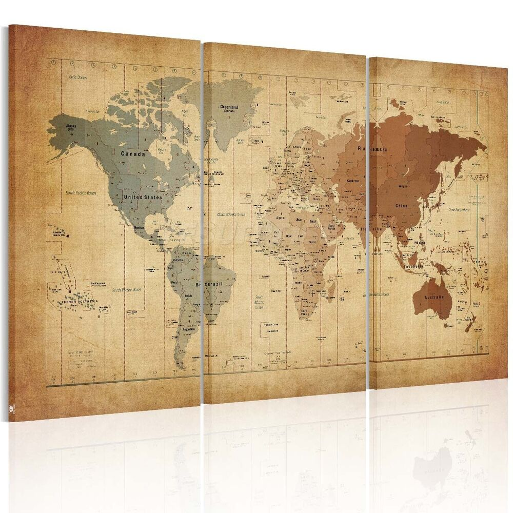 vintage framed world map canvas prints wall art paintings ready to hang ebay. Black Bedroom Furniture Sets. Home Design Ideas