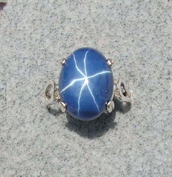 16x12mm 9 Ct Linde Lindy Crnflwr Blue Star Sapphire Created Second Ring 925 Ss Ebay