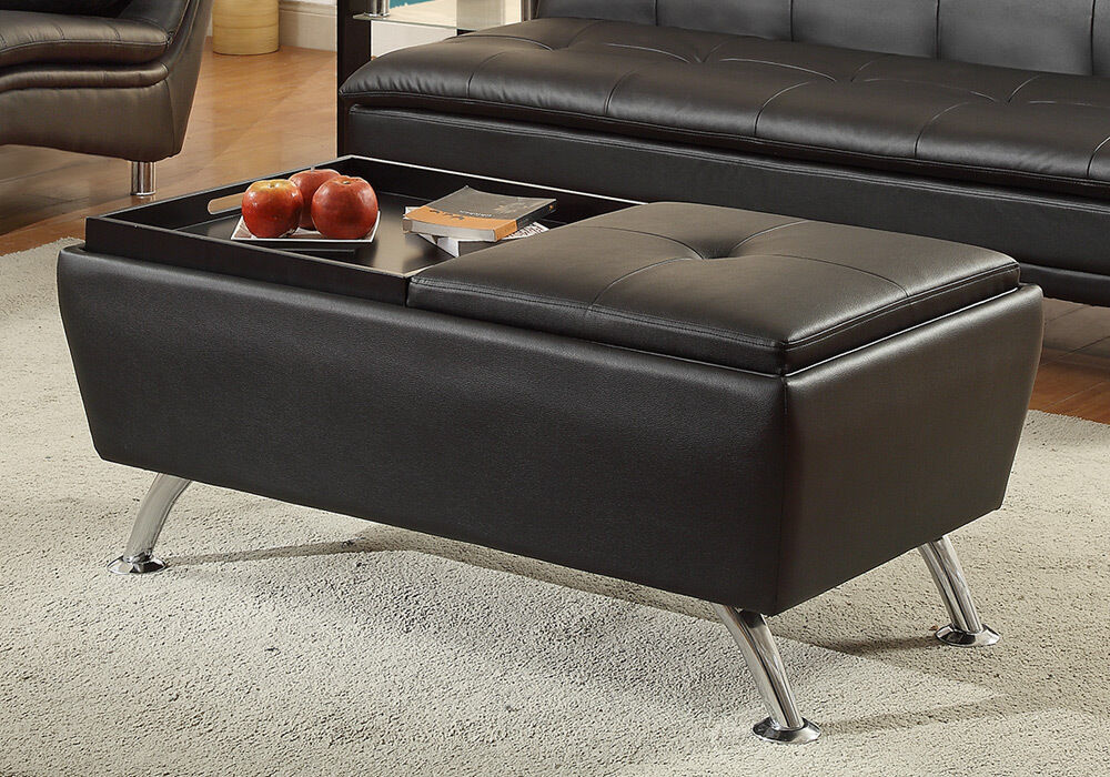 Modern living cocktail coffee table ottoman flip over trays black faux leather ebay Ottoman coffee table trays