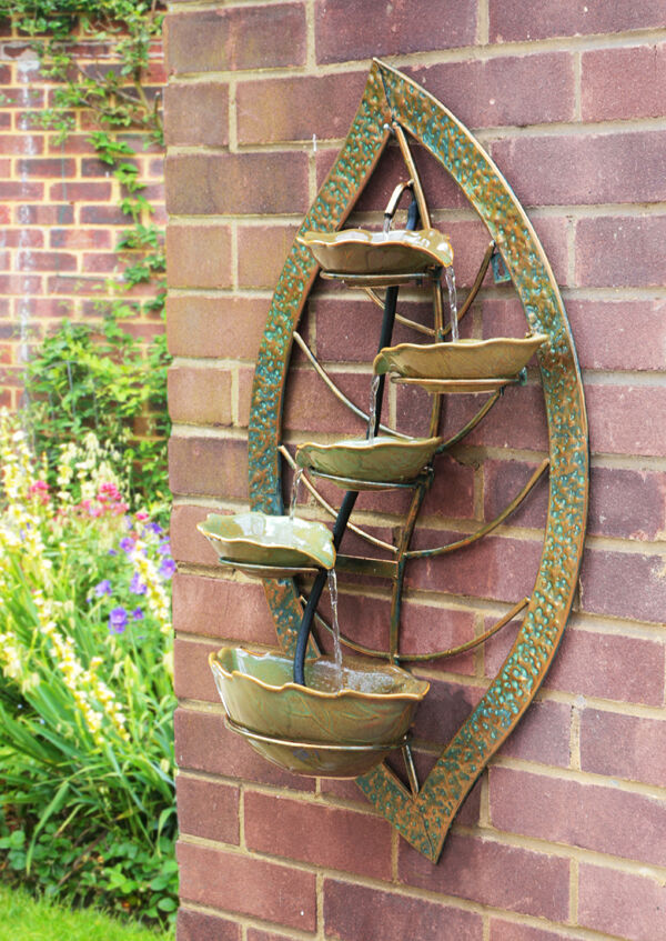 Verdigris leaf wall mounted cascade water feature 4 tier - Wall mounted water feature ...
