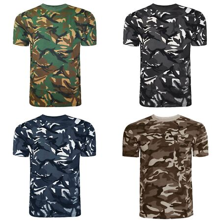 img-MENS CAMOUFLAGE T SHIRT TOP VEST CAMO MILITARY HUNTING ARMY COMBAT FISHING M-XL