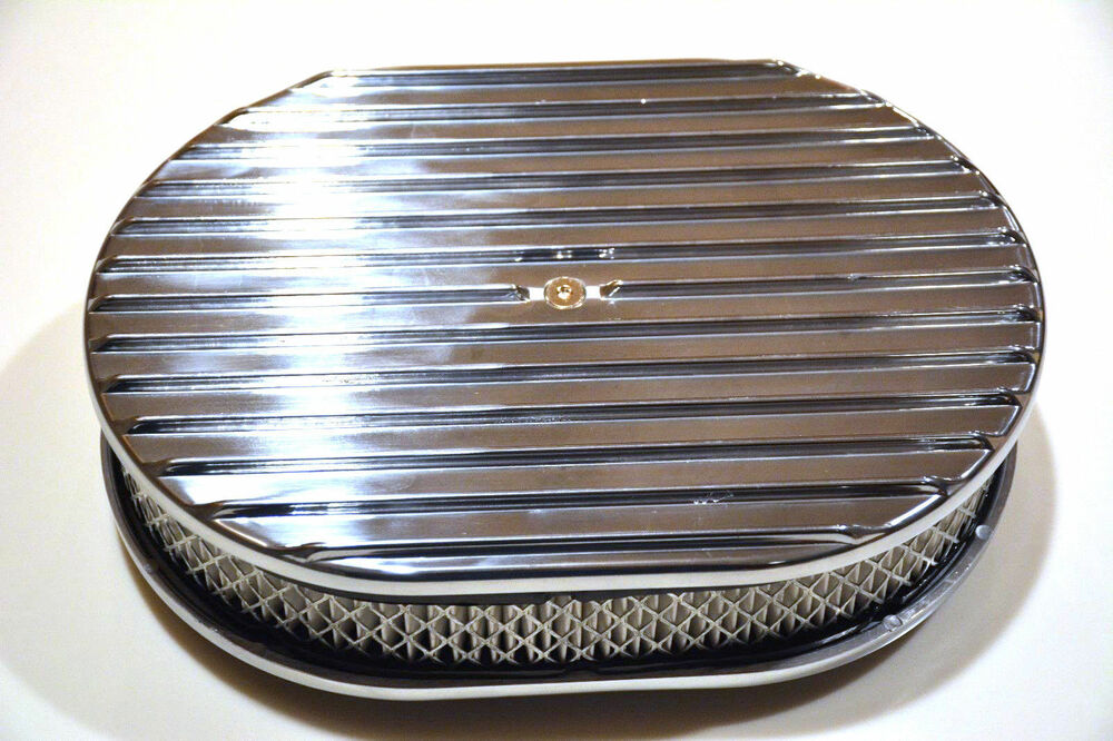 Nostalgia Air Cleaners : Quot polished aluminum nostalgia full finned oval air