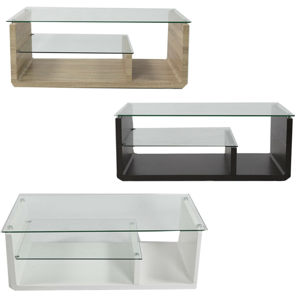 Glass Coffee Table Modern Rectangular Living Room Furniture With Storage Ebay