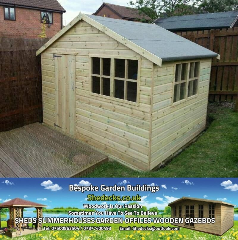 Shed Apex Garden Summer House Gym Office Heavy Duty 16mm T