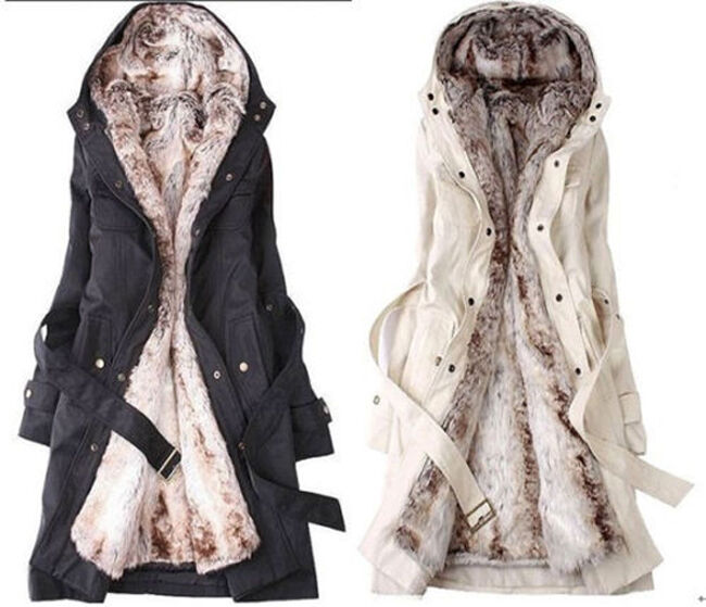 Fashion Womens Thicken Warm Winter Coat Hood Parka Overcoat Long ...
