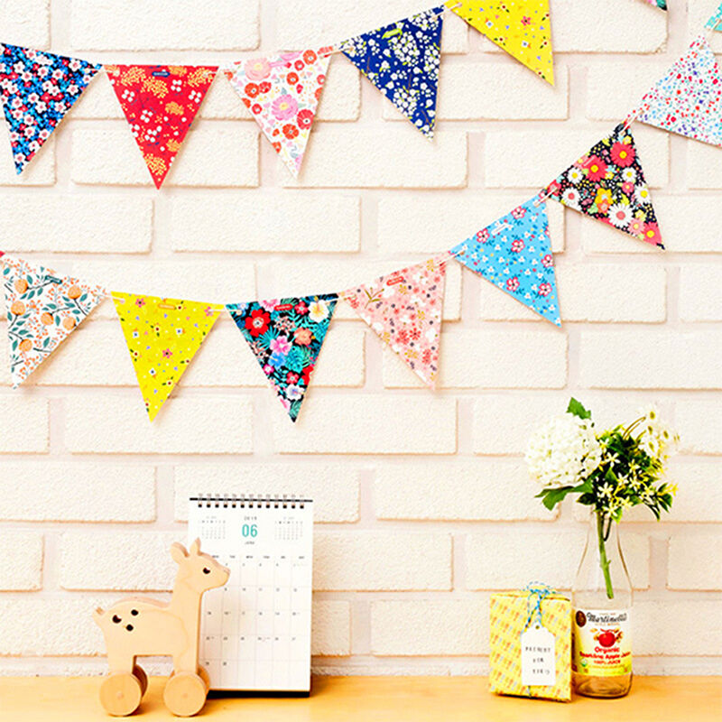 Glitter Paper Birthday Party Hanging Bunting Banner Flag: Party Time Happy Birthday Floral Paper Flags String