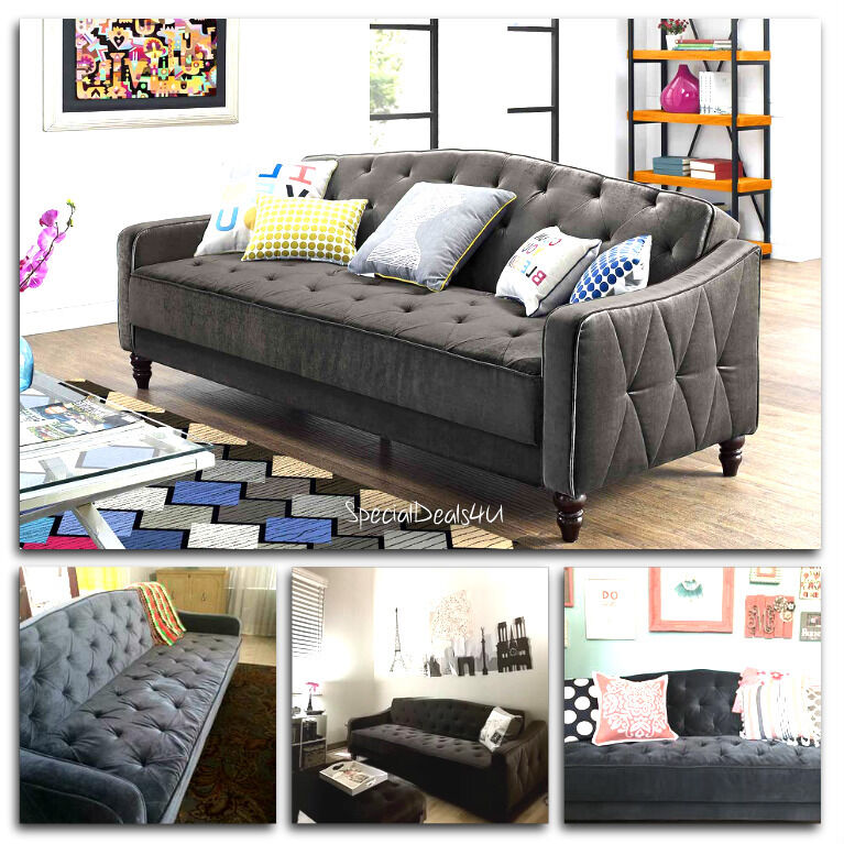 Vintage Tufted Sofa Sleeper Bed Couch Futon Furniture Living Room Lounger Chaise Ebay
