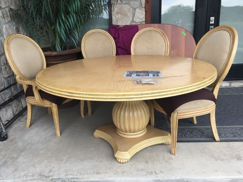 Round 60 dining table and 4 chairs ebay for Round dining table set for 4