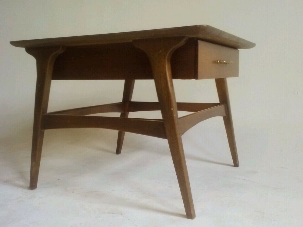Vintage Teak End Table Nightstand Bedroom Desk Atomic