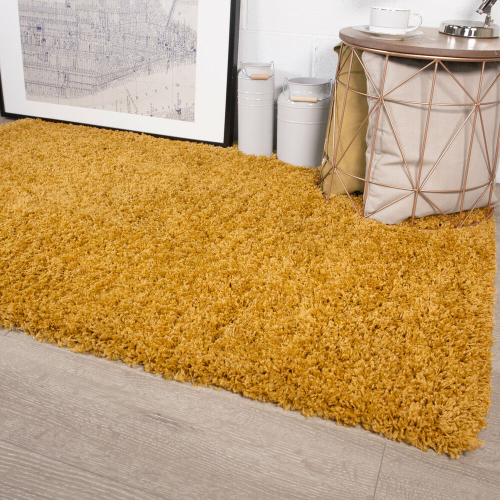 Yellow Shaggy Rug Uk: Mustard Shaggy Rug Non Shed Thick 50mm Pile Soft Fluffy