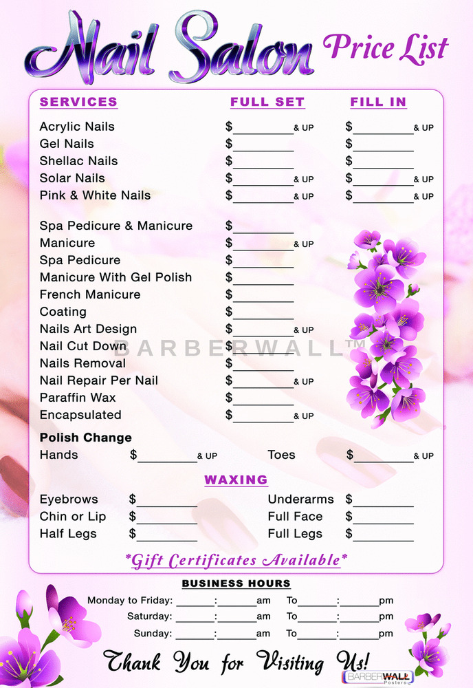 Nail salon price list nail salon poster 36 hx 24 w npl for A list nail salon
