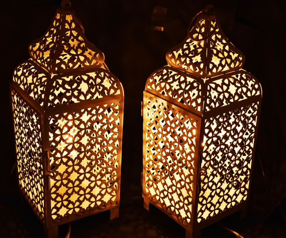 Pair Of Moroccan Copper Table Lamp Bed Side Table Lamp Ebay