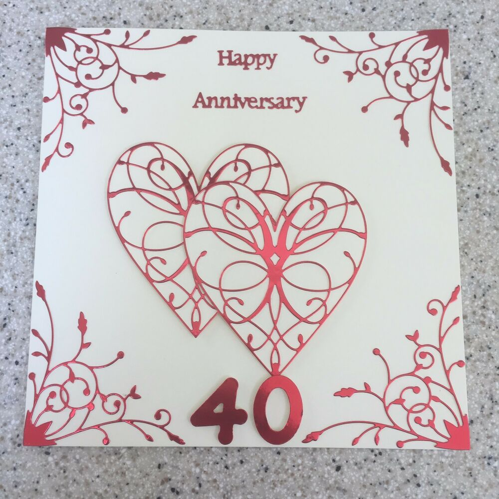 handmade ruby wedding anniversary card happy 40th wedding. Black Bedroom Furniture Sets. Home Design Ideas