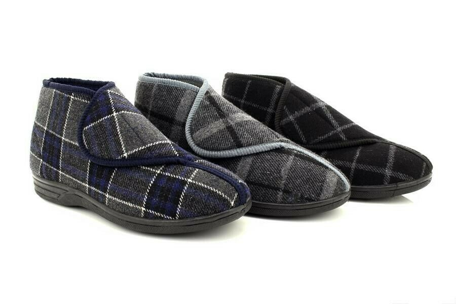 Mens Peter Touch Fastening Bootee Washable Wide Fit Textile Slipper Boots EBay