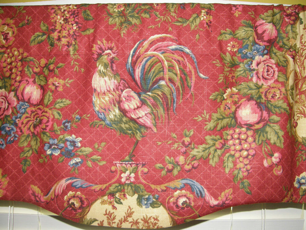 French Country Scalloped Valance Curtain Waverly Red Gold