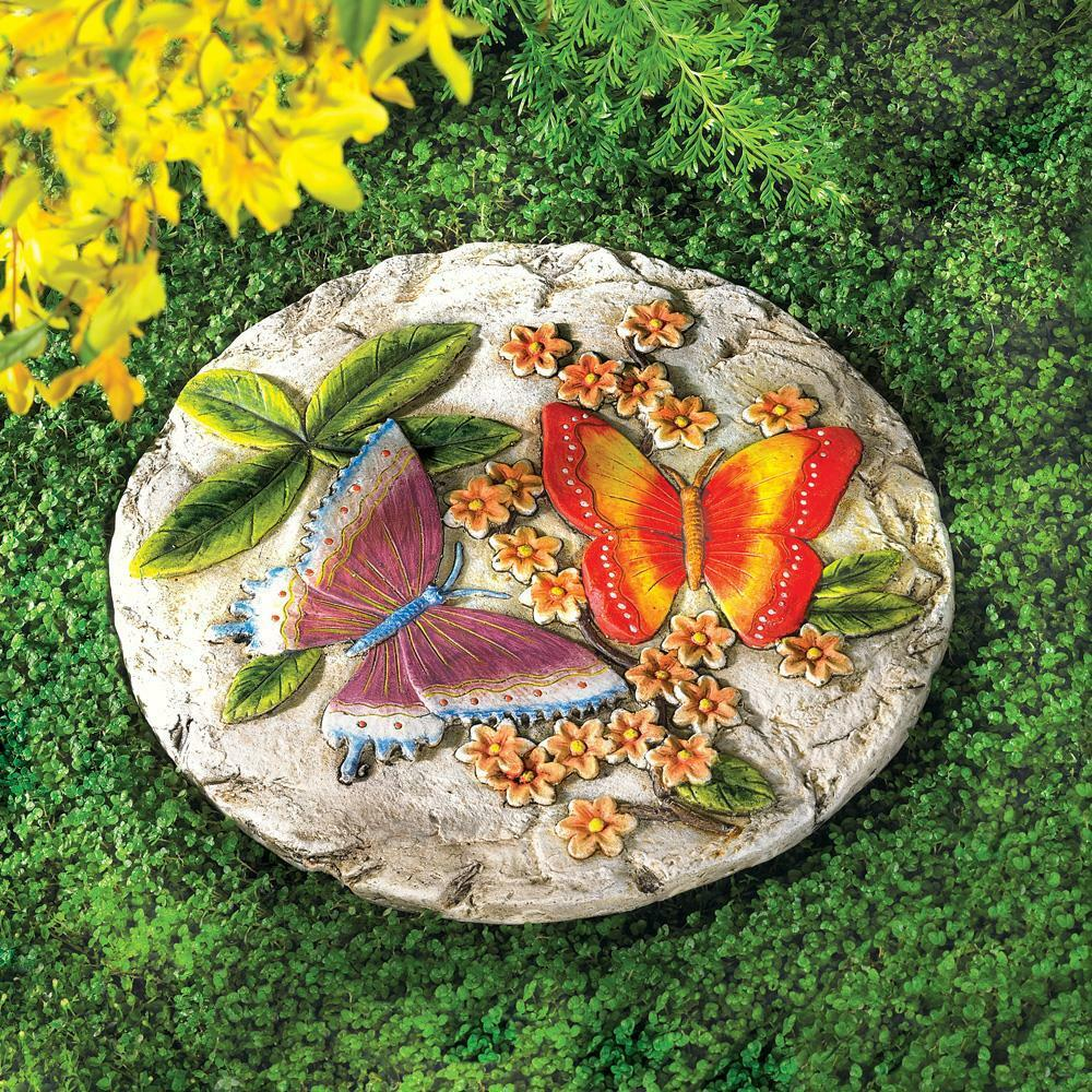Set of 6 butterfly cement stepping stone yard garden patio for Outdoor decorating with rocks