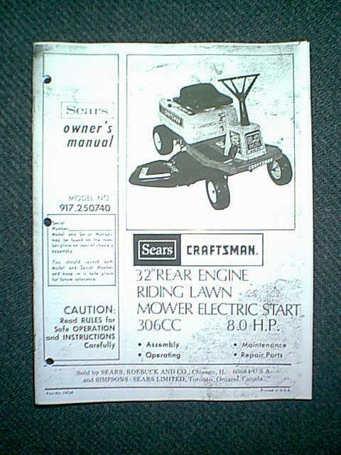Sears Craftsman Rear Engine Riding Mower 8 Hp 32 Quot Model