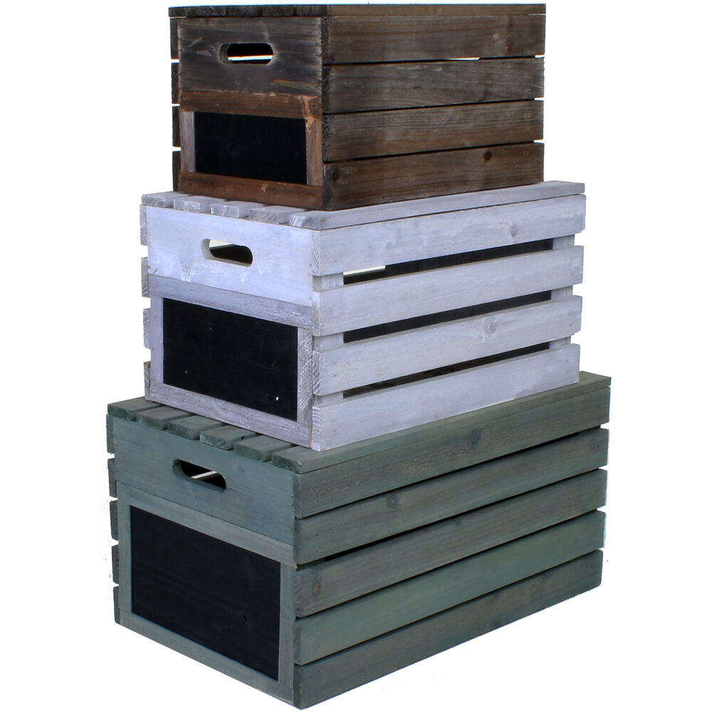 wooden crate vintage rustic farm shop storage box crates lid fruit apple display ebay. Black Bedroom Furniture Sets. Home Design Ideas